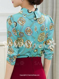 Love this collar and back embellishment... Chic Stand Collar Long Sleeve Chain Print Blouse For Women