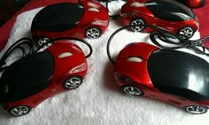 Lot of 4 Mini Car Shaped USB 2.0 Wired Optical Mouse Mice for PC Laptop Red New