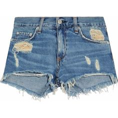 Rag & Bone/jean Distressed denim shorts (€79) ❤ liked on Polyvore featuring shorts, bottoms, mid denim, torn shorts, distressed shorts, destroyed shorts, ripped shorts and distressed denim shorts