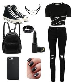 black style by lyukagnm on Polyvore featuring polyvore fashion style T By Alexander Wang Boohoo Converse STELLA McCARTNEY Swarovski Barry M clothing