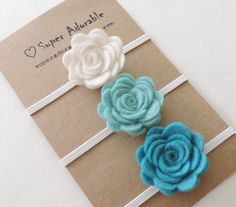 Felt Flower Headband Turquoise Shades   Pick 3 by SuperAdorable, $12.99