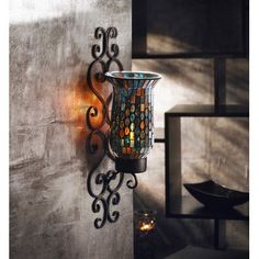 World Menagerie Mosaic Glass and Metal Wall Sconce Just purchased <3