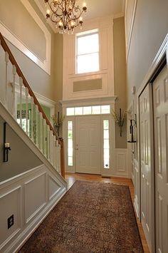 6 Smashing Tips: Dark Wainscoting Floor Colors wainscoting bathroom toilets.Wainscoting Rustic Home Decor craftsman wainscoting paint. Wainscoting Hallway, Wainscoting Styles, Black Wainscoting, Wainscoting Kitchen, Painted Wainscoting, Foyer Wall Decor, Foyer Paint, Foyer Lighting, Lighting Ideas