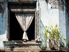open window in Yangon, Myanmar