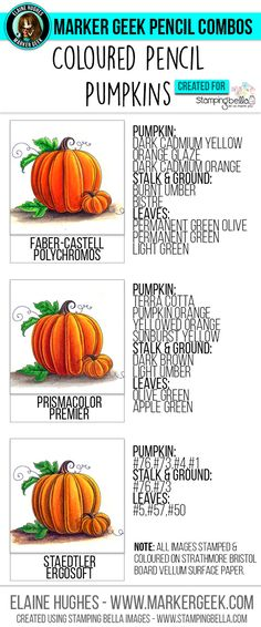Inspiration and colour combos for colouring pumpkins using coloured pencils. Post includes colouring video and downloadable colour guide.