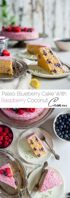 Paleo Blueberry Cake with Raspberry Coconut Cream - This layered paleo cake has fresh, juicy blueberries and raspberry coconut whipped cream! It's a healthier, gluten free dessert that's perfect for s (Raspberry Coconut Cake) Paleo Desert Recipes, Gluten Free Recipes For Dinner, Gluten Free Desserts, Sweet Recipes, Whole Food Recipes, Healthy Recipes, Recipes With Coconut Cream, Coconut Flour Recipes, Paleo Dessert