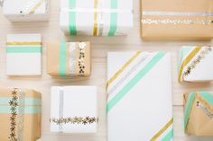 Glitter and confetti on double sided tape gives a nice touch to gift wrapping - 12 Last-Minute Holiday Gift Wrap Hacks via Brit + Co.