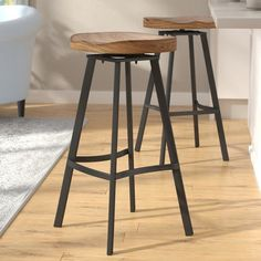 Mid-Century Bar Chairs Meet Modern Lighting Pieces You'll Love Saddle Bar Stools, Swivel Bar Stools, Bar Chairs, Swivel Chair, Ikea Chairs, Dining Chairs, High Chairs, Chair Cushions, Rustic Bar Stools