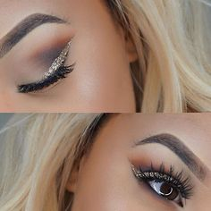 Glitter eyeliner smokey eye glam makeup