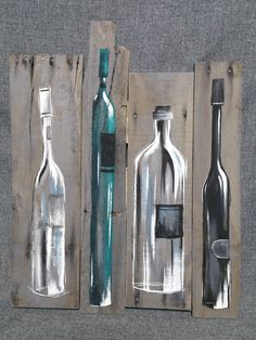 Wine Bottle Painting, Pallet wall art decor, Teal wine decor, reclaimed wood, Distressed wine bottles, handmade, hand painted, gift Original Acrylic painting on reclaimed pallet wood that is stained gray with a water-based stain. This unique piece is 22 1/2 in x 17 1/2 in. Give your kitchen or bar area a personal, shabby chic touch with this rustic artwork. *******This is the one and only ORIGINAL for sale. Because the the reclaimed woods appearance and variations, I am painting ...