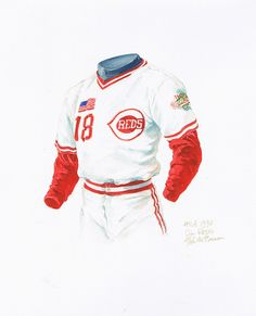Great illustration of the  Reds uniform I remember from my childhood...1990 556ba7534