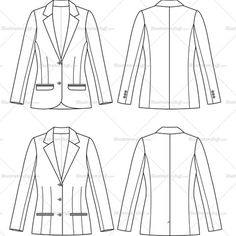 Women's Notch Lapel Suit Jacket Fashion Flat Template