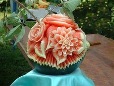 Watermelon carving art - seen at curiousphotos.blogspot.com