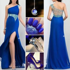 Beautiful One Shoulder Beading Split-Front A-Line Prom Dress