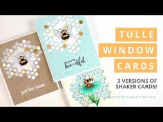 (1383) Tulle Window Cards - YouTube Making Greeting Cards, Greeting Cards Handmade, Hero Arts Cards, Jennifer Mcguire Ink, Bee Cards, Window Cards, Card Making Supplies, Interactive Cards, Card Making Techniques