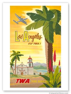 Vintage Art TWA Airlines Travel Poster Los Angeles Palm