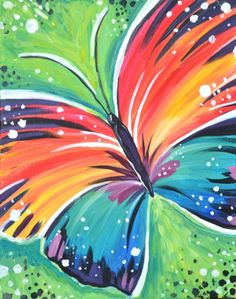 """Paint Nite painting """"Wings of a Butterfly"""" by artist Katia Zhestkova from Mason, OH, USA Simple Canvas Paintings, Easy Canvas Painting, Spring Painting, Diy Canvas Art, Diy Painting, Painting & Drawing, Butterfly Painting Easy, Acrylic Painting For Kids, Mandala"""