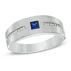 Men's Princess-Cut Lab-Created Blue Sapphire and 1/10 CT. T.W. Diamond Ring in Sterling Silver