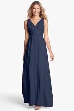 Blue Twist-Waist Silk Chiffon Gown