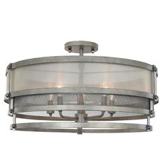 "@ 24"" dia a good choice  Tiered Elegant Industrial Semi-Flush Ceiling Light"