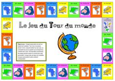 Jeu tour du monde pour cloturer le projet Game around the world to close the project – Chez Val 10 Work Activities, Educational Activities, Around The World Theme, Kids Homework, Cycle 3, Travel Party, French Class, Book Images, Classroom Themes