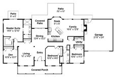 First Floor Plan of Country   Ranch   House Plan 69115 First Floor Plan of Country   Ranch   House Plan 69115....like that the boys could have their own area & hubby and I could have ours to watch movies.  Instead of Den I would extend master suit to have a sitting area  and make closet bigger & up front with the window.  also connect all the back porches