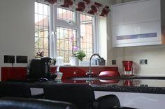 Red High Gloss Kitchen Splashback. High Gloss Kitchen, Splashback, Red High, Kitchen Designs, Kitchens, Kitchen Cabinets, Home Decor, Decoration Home, Room Decor