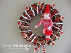Project Gallias, Wreath, Door decoration, wreath with hearts, dolly, Valentine's Day