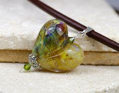 Heart Necklace  Lampwork Heart  Heart Pendant  by JewelsByLDesigns