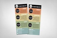 Student Ministry Rack Card is part of children Ministry Flyer - Editable PSD file to use as a rack card with all the info for your student ministry This Rack Card works great to have hanging in your Youth Room to hand new students, or in your church's vi… Church Ministry, Youth Ministry, Ministry Ideas, Church Graphic Design, Church Design, Youth Group Activities, Youth Groups, Group Games, Youth Bible Study