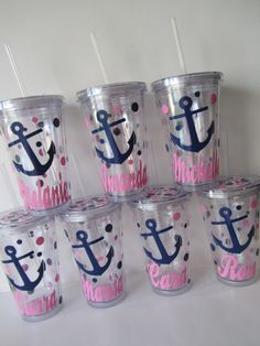 6 Personalized Acrylic Tumblers -  Anchor design, on the boat at the pool or beach or for party favors. Mix and Match designs.