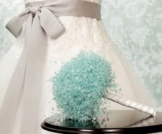 Wedding Bouquet - Aqua Blue Beaded Bridal Bouquet - Wedding Bouquets - Something Blue - Fabulous Brooch Bouquet Alternative