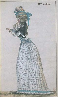 Journal de la Mode et du Gout, June 1790.  This is so adorable! I love her spotty fabric, the box pleats around the hem, and the bound edges of her jacket!