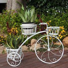 Envío gratis Exquisito Balcón bicicleta maceta bandeja de hierro estable multicapa maceta titular de la bicicleta de pie pérgolas