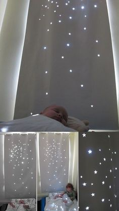 Use simple black out roll blind and cut shapes out. Makes daytime naps feel like night time stars.