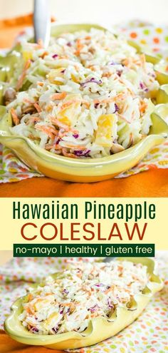 No-Mayo Hawaiian Pineapple Coleslaw Recipe – Cupcakes & Kale Chips Hawaiian Pineapple Coleslaw – a sweet and savory tropical twist on the classic picnic side dish recipe. Made healthy with Greek yogurt, this easy summer salad has no mayo. Healthy Coleslaw Recipes, Coleslaw Recipe Easy, Vegan Coleslaw, Easy Healthy Recipes, Coleslaw Salad, Creamy Coleslaw, Coleslaw Recipe For Pulled Pork No Mayo, Gluten Free Coleslaw Recipe, Pineapple Recipes Healthy