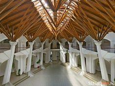 School, in Hungary. Stadium Architecture, Church Architecture, Organic Architecture, Beautiful Architecture, Gaudi, Architecture Organique, Airport Design, Art Village, Interesting Buildings