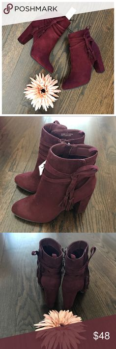 New York & Co Faux Suede Burgundy Heeled Booties New with tags. New York & Company wine color faux suede heeled boots. 3.75 inch heel. Interior side zip. Size 7. This style only comes in whole sizes and will fit 7-7.5. New York & Company Shoes Heeled Boots