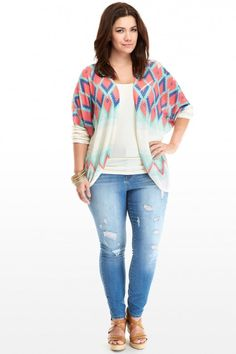 Plus Size Kelsey Tribal Cocoon Cardigan | Fashion To Figure #PlusSizeFashion