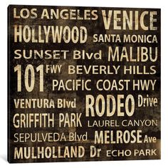 iCanvas LA In Words by Luke Wilson Canvas Print
