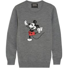 Markus Lupfer + Disney® Dancing Vintage Mickey sequined merino wool... found on Polyvore featuring tops, sweaters, grey, mickey mouse sweater, sparkly tops, sequin sweater, sparkle sweater and vintage mickey mouse sweater