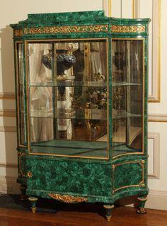 Important Louis XVI Style Malachite Vitrine