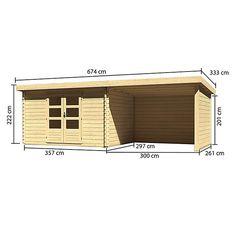 Karibu Blockbohlenhaus Bastrup 7 (675 x 333 cm, Wandstärke: 28 mm, Pultdach, Ausführung: Mit Anbau, Seiten- & Rückwand)