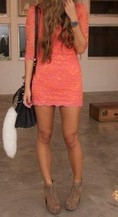 Love coral. Love lace. Love the dress. Needs to be a little longer on me though