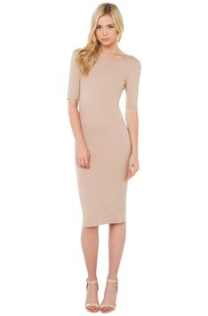 Now Or Never Midi Dress - Taupe