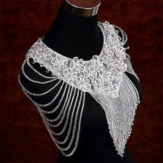 Vintage Wedding Bridal Shoulder Body Chain Necklace Crystal Beads Lace Jewelry
