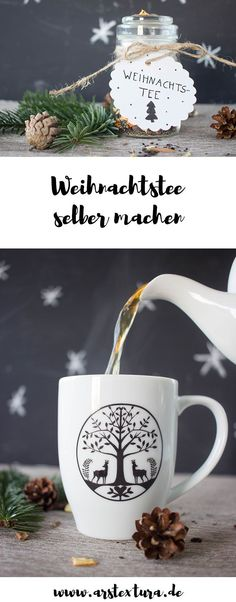 DIY gift from the kitchen - make Christmas tea yourself - a delicious winter gift . - Adventskalender - Arts And Crafts Christmas Tea, Christmas Presents, Christmas Crafts, Xmas, Fathers Day Gift Basket, Diy Kitchen Projects, Natal Diy, Navidad Diy, Winter Drinks