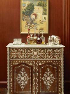 Adeeni Design Group: custom Syrian inlaid mother of pearl bar cabinet in a historic Diablo mansion Moroccan Decor, Moroccan Style, Moroccan Furniture, Indian Furniture, Cool Furniture, Painted Furniture, Traditional Family Rooms, Bohemian Decor, Decoration
