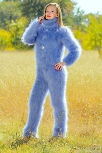 Blue hand knitted mohair sweater bodysuit fuzzy warm catsuit by SUPERTANYA SALE Fluffy Sweater, Mohair Sweater, Wool Sweaters, Catsuit, Gros Pull Mohair, Mo Hair, Turtleneck Bodysuit, Knit Pants, Sweater Outfits