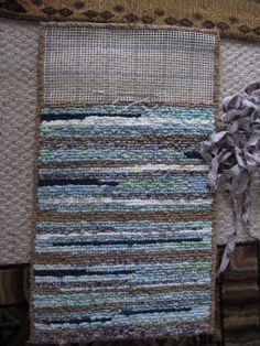 Blue brown locker hook rug